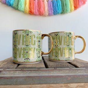 2 Anthropologie Gisele Living Lovely Coffee Mugs